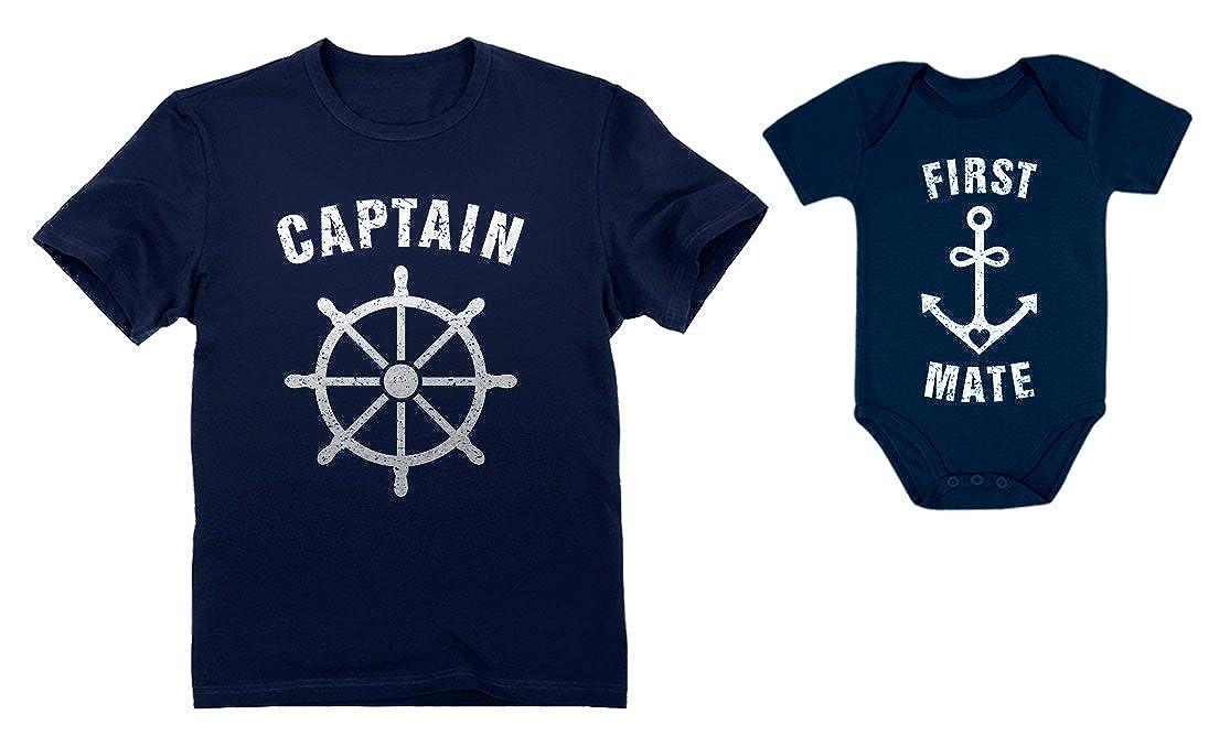 Tstars Captain & First Mate Nautical Sailing Dad Shirt & Baby Bodysuit Matching Set nCs9nhhM