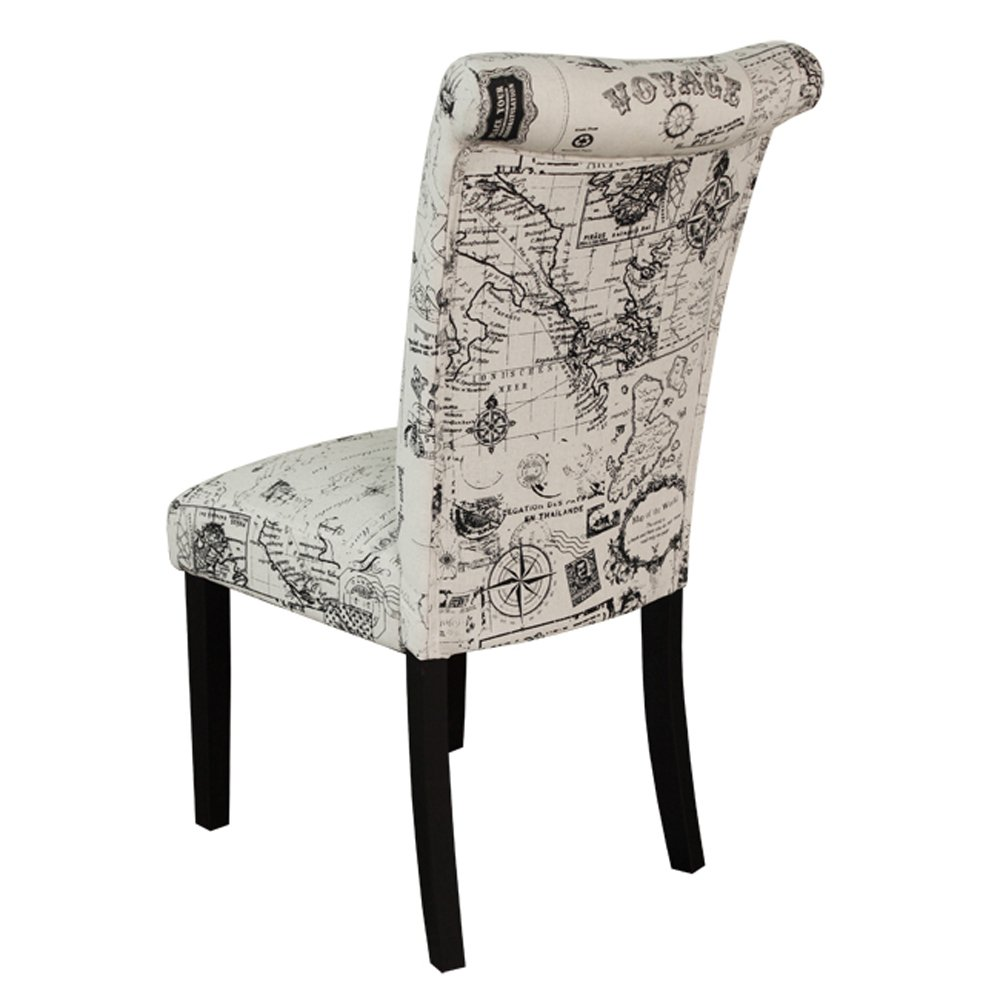 Upholstered dining chair sabanc solid wood button tufted for Dining chairs with upholstered seats