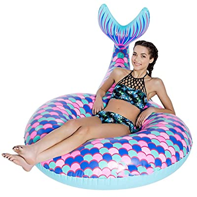 BEUTEY Inflatable Mermaid Swim Ring Swimming Circle Pool Float Ride On Pool Raft Beach Toys Summer Floatie Lounge Water Sport Lie Down Toys for Adults Kids (Large): Toys & Games