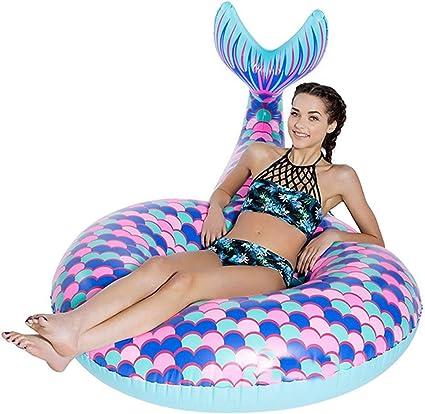 Mermaid Tail Swim Ring Kids Inflatable Swimming Pool Fun Water Float Beach Toy