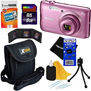 Nikon COOLPIX A300 20.1 MP Digital Camera with 8x Zoom NIKKOR Lens & Built-in Wi-Fi (Pink) - International Version (No Warranty) + 7pc 8GB Accessory Kit w/ HeroFiber Ultra Gentle Cleaning Cloth