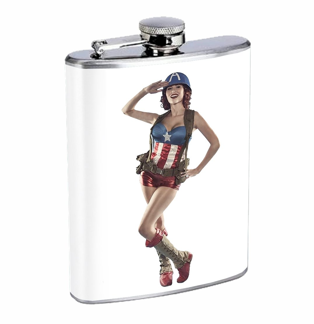 Miss Captain America Sexy 8oz Stainless Steel Flask Drinking Whiskey