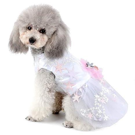 AYWJ Vestido de Boda para Mascotas pequeñas, Perro, niña, Flor ...
