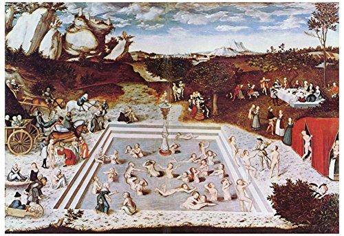Cranach Fountain (Lucas Cranach (The fountain of youth) Art Poster Print 19 x 13in)