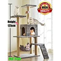 Cat Tree Tower Cat Tree House Cat Tree Condo 4.1ft (125cm) Wood Rattan Pet Supplies with Versatile Safe Bed Easy to Assemgbly, Grey