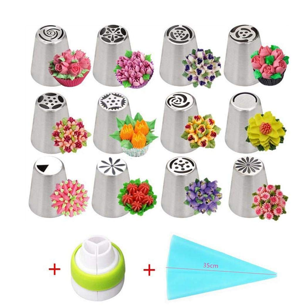 Meflying 14pcs Durable Portable Cake Flower Decorating Mouth Cake Nozzles Cake Tools Set Candy Making Molds