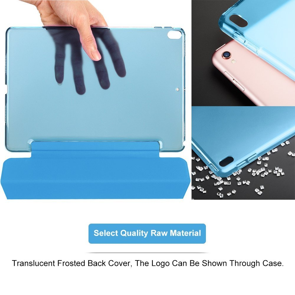 For iPad Pro 10.5 inch Cover Leather with Trifold Stand Shockproof Auto Sleep Wake Full Body Protective Light Slim Smart Tablet Case 2017 Sky Blue CAM-ULATA