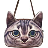 Santwo Individuality Shoulder Bags Funny Lifelike 3d Printed Cat Head Handbags