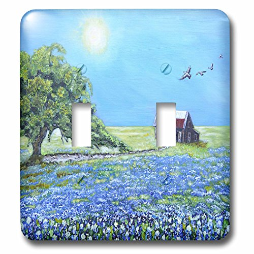 Melissa A. Torres Art Texas - Image of Texas barn with Live Oak Tree, birds, and Bluebonnets - Light Switch Covers - double toggle switch ()