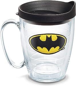 Tervis DC Comics - Batman Insulated Tumbler with Emblem and Black Lid, 16oz Mug, Clear