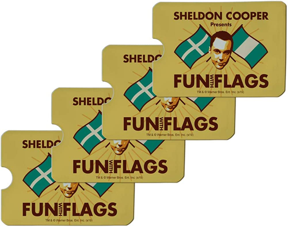 Big Bang Theory Sheldon Cooper Fun with Flags Credit Card RFID Blocker Holder Protector Wallet Purse Sleeves Set of 4