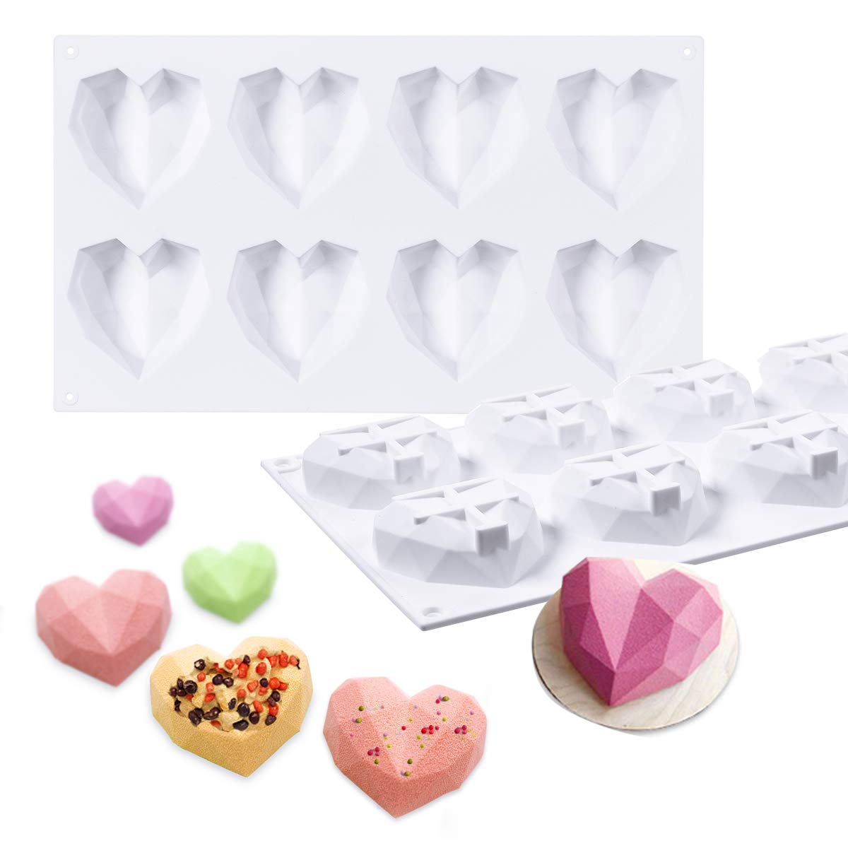 Janolia Heart Shaped Chocolate Molds, 8 Grids Silicone 3D Diamond Candy Mold Trays, for Cake Decorating, Baking, Candy Making, Chocolate, Cupcake, Toppers, Even for DIY Soap Candle