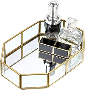 Hipiwe Gold Mirrored Makeup Tray Gold Metal Decorative Jewelry Tray Vanity Cosmetic Perfume Organizer for Dresser, Bathroom, Bedroom,Home Decor (Small)