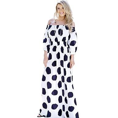 334c9a5a682 Enggras Women s 3 4 Sleeve Polka Dot Boat Neck Party Summer Empire Waist  Beach Maxi Long Dress at Amazon Women s Clothing store