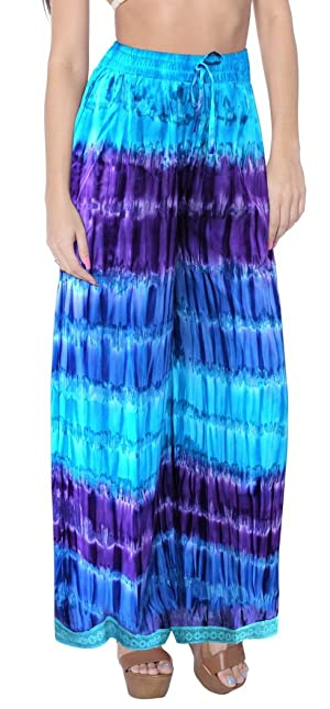 TieDye Palazzo Pants Lounge Wear Beachwear Elastic Waist Ankle Length Comfy Airy Valentines Day Gifts 2017