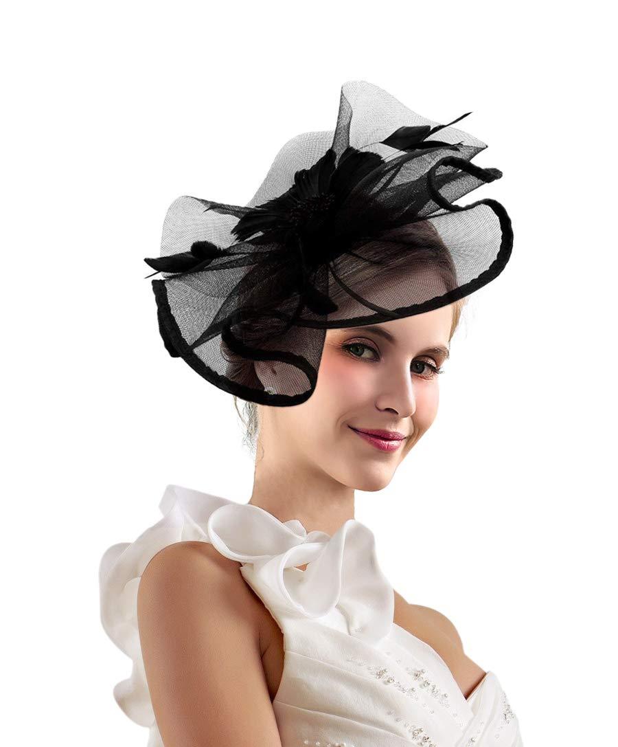 Kentucky Derby Fascinators for Women Sinamay Tea Party Hat Cocktail Headpiece Flower Mesh Feathers Headband Hat Black-AD by Merya Dress (Image #1)