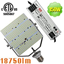 NUOGUAN 150W LED Retrofit Kit Mogul E39 Base Cool 6000K White 18750 Lumens 100-277VAC External Meanwell Driver Replace 1000W HPS Flood Light for Lighting Building Facades Displays Signs