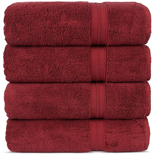 Luxury Premium Turkish Cotton 4-Piece Bath Towels, Long-Stable 20/2, 2 Ply Turkish Ring-Spun Cotton Yarn makes the luxe-factor, Eco-Friendly, (Cranberry)