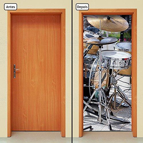 Adesivo Decorativo de Porta - Instrumentos Musicais - Bateria - 1574cnpt