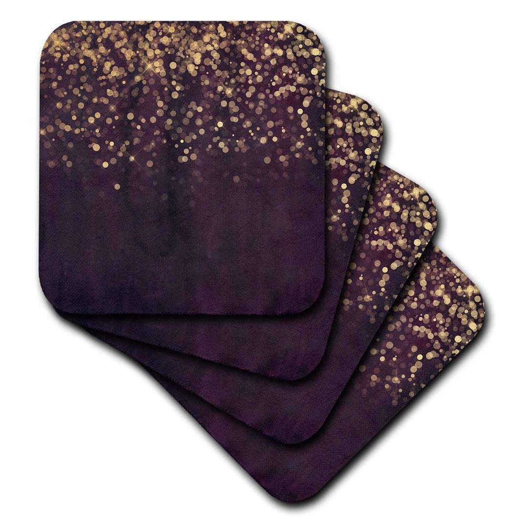 3dRose cst/_253475/_3Gold Glitter Confetti on Purple Watercolor Background Ceramic Tile Coasters Set of 4