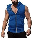 COOFANDY Men's Zip Up Workout Tank Tops Hooded