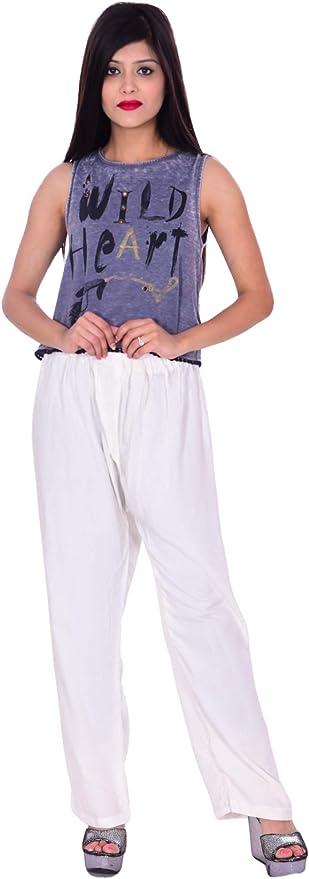 New Indian Woman Solid White Trouser Pant Khadi 100/% Cotton Plus Size Pant