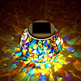 Color Changing Solar Powered Glass Ball Led Garden Lights, Rechargeable Solar Table Lights, Outdoor Waterproof Solar Night Lights Table Lamps for Decorations, Bright Solar Lawn Light (multicolor1)