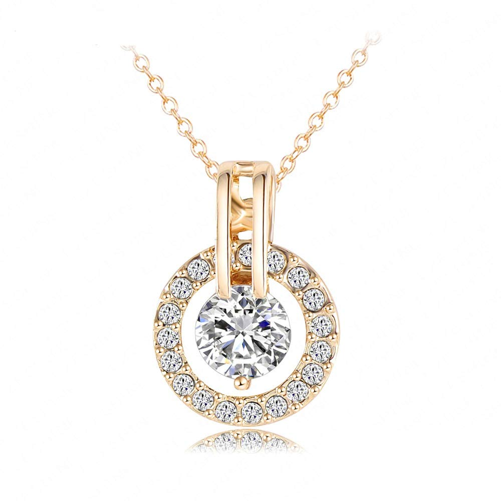 33cfbe8501 Amazon.com: NYKKOLA 18k Gold Plated Austrian Crystal Circle Necklace Pendant  with 18