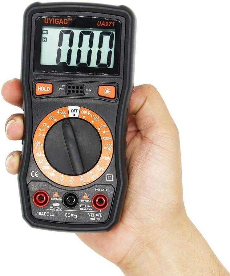 KANJJ-YU UA971 LCD Display Handheld Digital Multimeter AC//DC Voltage DC Current Resistance Temperature Transistor HFE Measurement