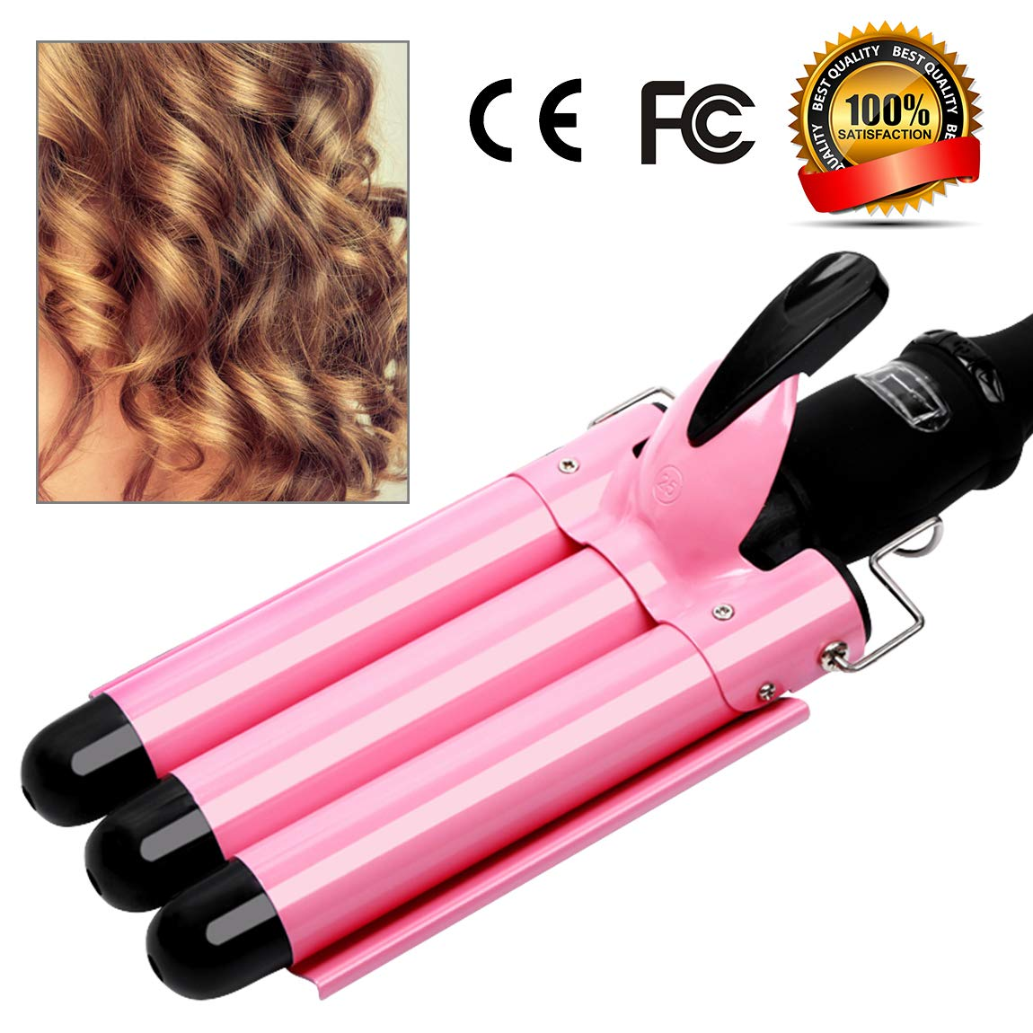 3 Barrel Curling Iron Hot Tools Curling Iron Fast Heating Ceramic Hair Waver Curler 25mm Hair Curling Wand (style2) by Garne-T