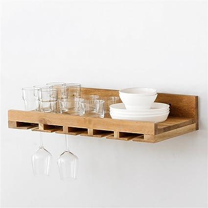 HSHELF-Muebles Montado en la Pared Botellas de Vino y portavasos, Almacenamiento de Roble