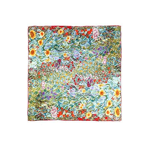 Aqueena Women's 100% Luxury Charmeuse Satin Square Silk Scarf Oil Paintings (Gustav Klimt's