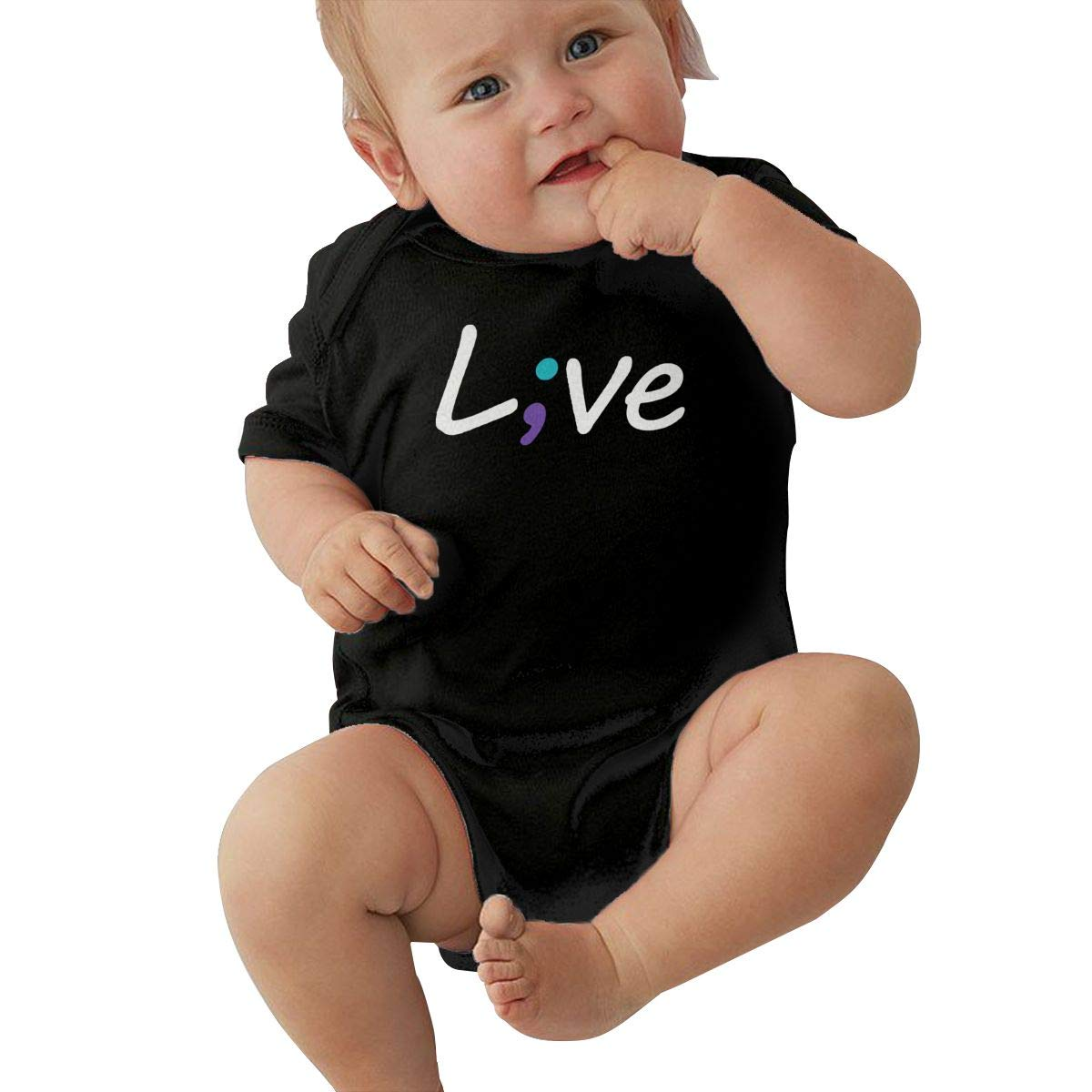 Short Sleeve Cotton Rompers for Baby Girls Boys Fashion Suicide Prevention Awareness Live Love Semicolon Jumpsuit