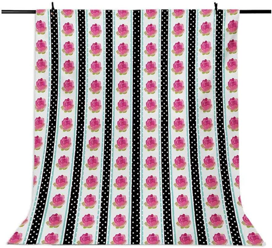 10x15 FT Photography Backdrop Vertical Old Fashioned Borders with Pink Roses on Polka Dots Background Country Style Background for Child Baby Shower Photo Vinyl Studio Prop Photobooth Photoshoot