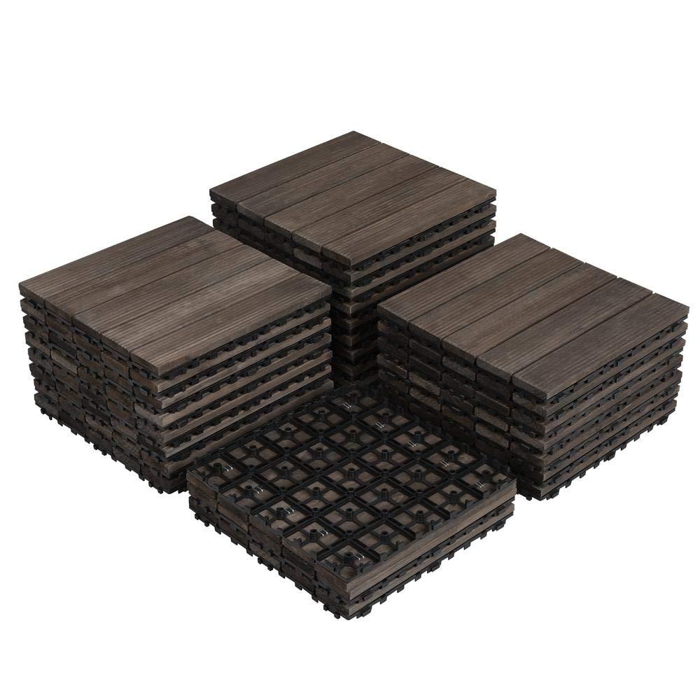 Yaheetech 27PCS Interlocking Wood Flooring Indoor Deck Patio Pavers Tiles Solid Wood Plastic Corner Edging Trim Tiles Outdoor 12 x 12in by Yaheetech