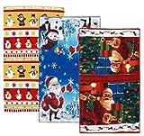 NKTM Santa Claus Dish towel Microfiber Reactive Printing Towel 14.96 x 25.59 Inch (3 Packs )