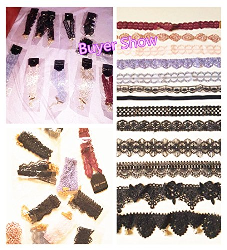 Tpocean 12 Pieces Choker Necklace Tattoo Necklace Colorful Lace Choker Set
