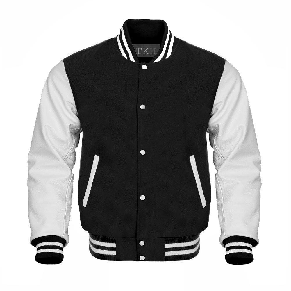 Design Custom Jackets Letterman Baseball Varsity Jacket White Leather Sleeves/Black (XXL)