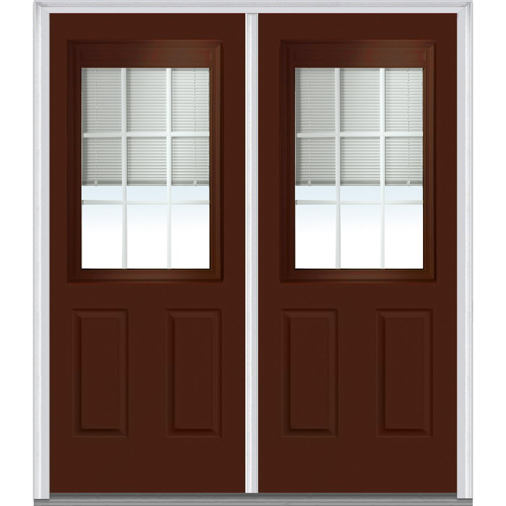 National Door Company ZA10641R Steel, Redwood, Right Hand In-swing, Prehung Door, 1/2 Lite 2-Panel, Clear Low-E Glass with RLB and GBG, 64'' x 80''