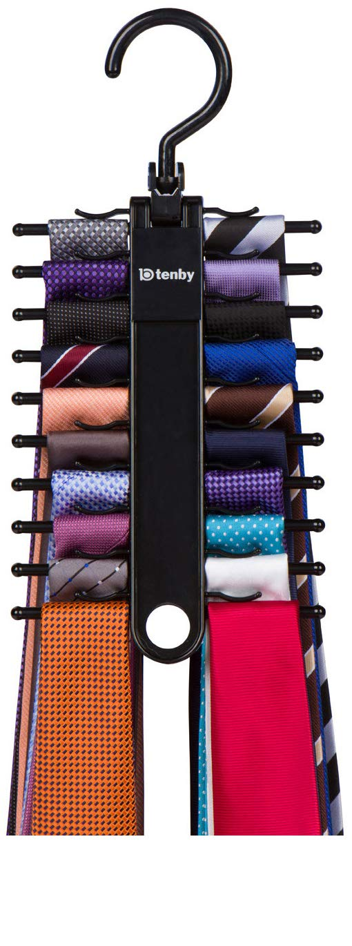 Tenby Living Black Tie Rack, Organizer, Hanger, Holder - Affordable Tie Rack with Non-Slip Clips, Holds Securely up to 20 Ties