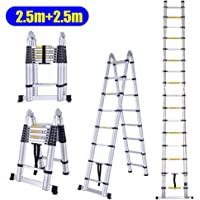 MLJ Télescopique échelle Haute Qualité de Multifonctions Pliante Aluminium échelle design charge 150 kg (Entrepôt en Allemagne) (2.5m+2.5m (5m))