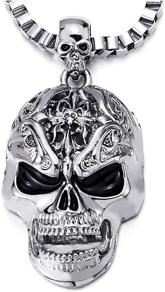 COOLSTEELANDBEYOND Gothic Punk Mens Boys Large Skull Pendant Necklace Polished with 22.4 inches Box Chain