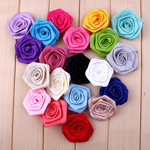 Decorations 200pcs/lot 1.6'' 20 Colors Newborn Excellent Quality Artificial Chic Rolled Fabric Flowers for Baby Girls Headbands Accessories by Unknown