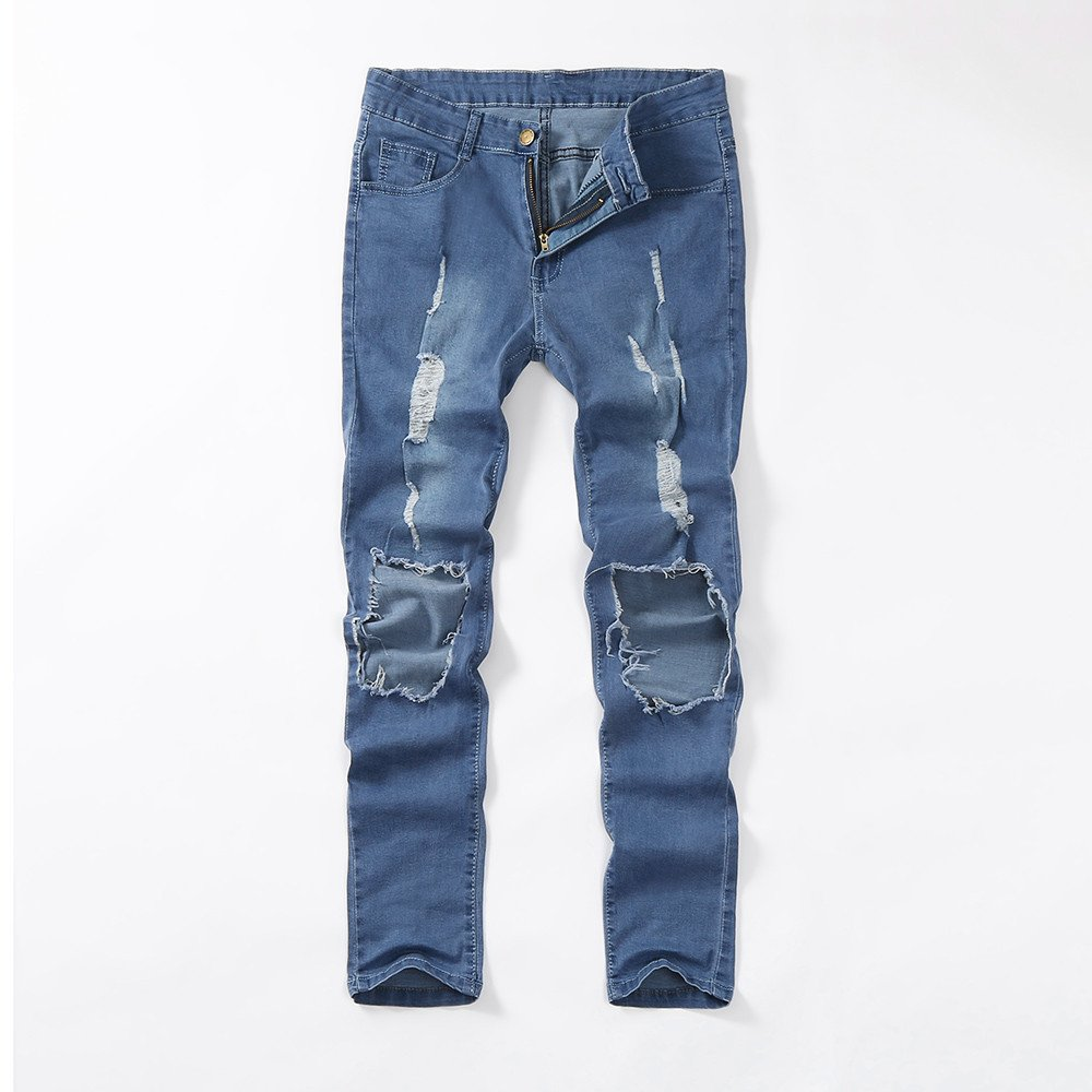 VPASS Pantalones Vaqueros para Hombre,Pantalones Casuales Moda Jogging Jeans Rotos Trend Largo Pantalones Pants Skinny Pantalon Fitness Jeans Largos ...