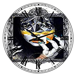 Designart Urban Lady Style Wall Art Design Modern & Contemporary Circle Wall Decorative Clock - Home Decorations for Home, Living Room, Bedroom, Office Decoration Round Metal Wall Clock