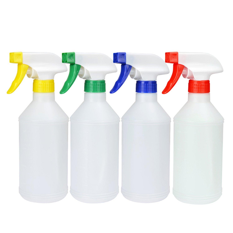 4pcs 17oz Multi-Purpose Leak Proof Plastic Empty Spray Bottles Heavy Duty Chemical Resistant Sprayer with Scale Mark Random Color Migavan