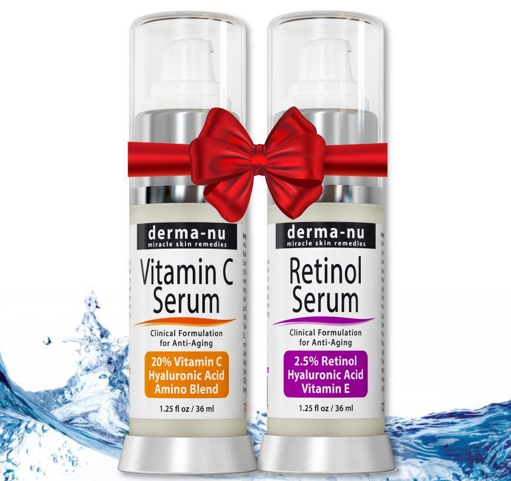 Retinol Serum 2.5% & Vitamin C Serum 2-pack with Hyaluronic Acid Serum & Vitamin E - Best Anti Aging Serums for Fine Lines & Wrinkles – Clinically Proven Skin Treatment for the Face - 1.25oz