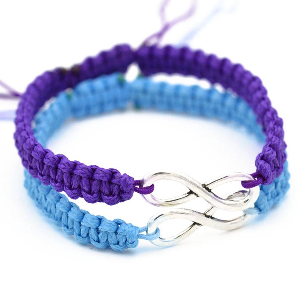Wintefei 2Pcs/Set Handmade 8 Infinity Charm Braided Bracelet Friendship Couple Jewelry - Purple + Sky Blue