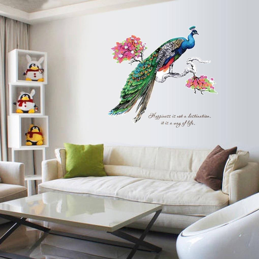 bovake DIY Chino Estilo Peacock Medio Ambiente Disposición de TV Fondo Pared Decoración entfernbare Pegatinas de Pared: Amazon.es: Bebé