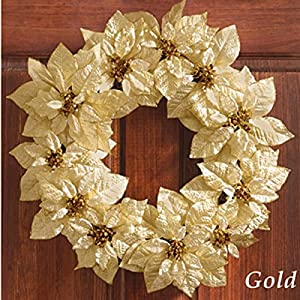 Glittery Christmas Poinsettia Wreath, Gold 9